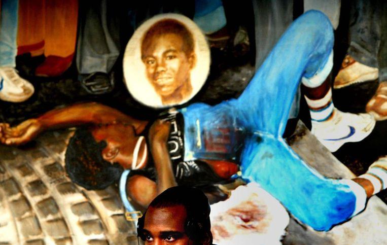 Schilderij van Kerwin Duinmeijer. Hij werd in 1983 het slachtoffer van een racistische moord. Beeld anp