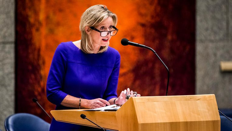 Kajsa Ollongren tijdens het debat over de intrekking van de Wet raadgevend referendum. Beeld ANP