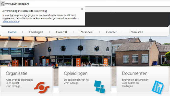 Screenshot van website Zwin College met beveiligingsmelding Google Chrome