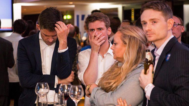 Voorstanders van Bremain reageren in Londen op de laatste tussenstanden. Ook de bookmakers zetten nu volop in op een Brexit. Beeld afp