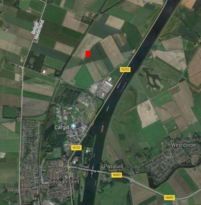De Oude Papeschorpolder waarin energieconcern Vattenfall iets ten noorden van zetmeelfabriek Cargill een zonnepark wil aanleggen.