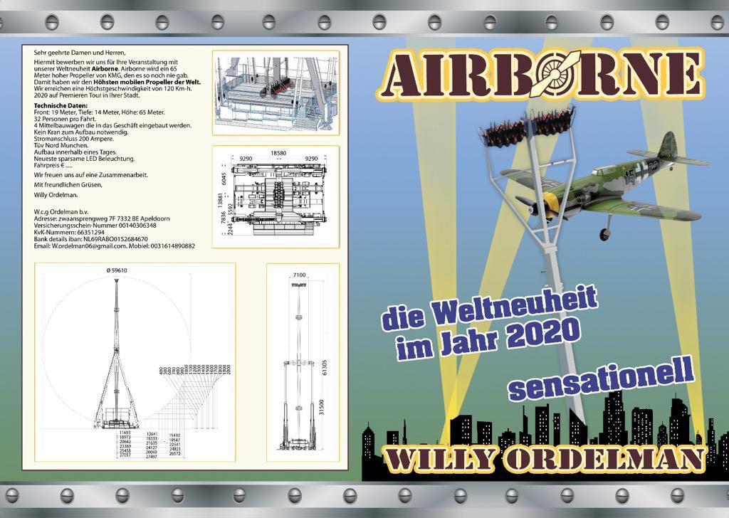 De aankondiging van de Airborne. Die staat dit jaar op de Tilburgse kermis.