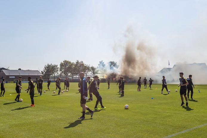 ZUNDERT - 30-06-2018,  soccer, Dutch eredivisie, season 2018/2019, fireworks ,during the  First training NAC