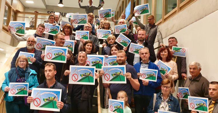 Actiegroep 'Houd Hingene uit de Wind' voerde eerder al actie tegen de komst van een windturbine.