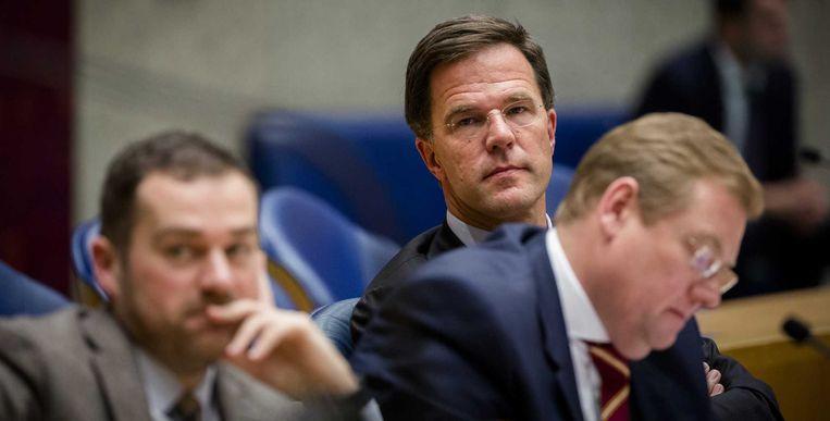 Staatssecretaris Dijkhoff, minister Van der Steur en premier Rutte. Beeld anp
