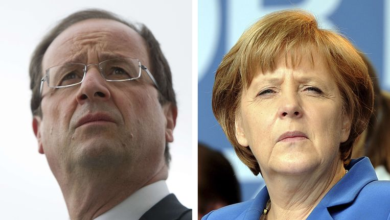 Archiefbeeld: de Franse president François Hollande en de Duitse bondskanselier Angela Merker