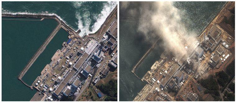 De kerncentrale van Fukushima voor en na de aardbeving en tsnuami van vorige week vrijdag. Beeld ap