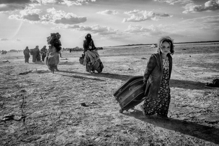Syrië, Baghuz Maart 2019, waar de harde kern van ISIS zich heeft verschanst in een klein stadje genaamd Baghuz, gelegen op de grens van Irak en Syrië. Beeld Eddy van Wessel