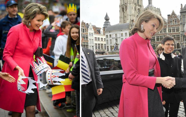 Mathilde met roze mantel in Geel, december 2017 (links) / Antwerpen, maart 2012 (rechts)