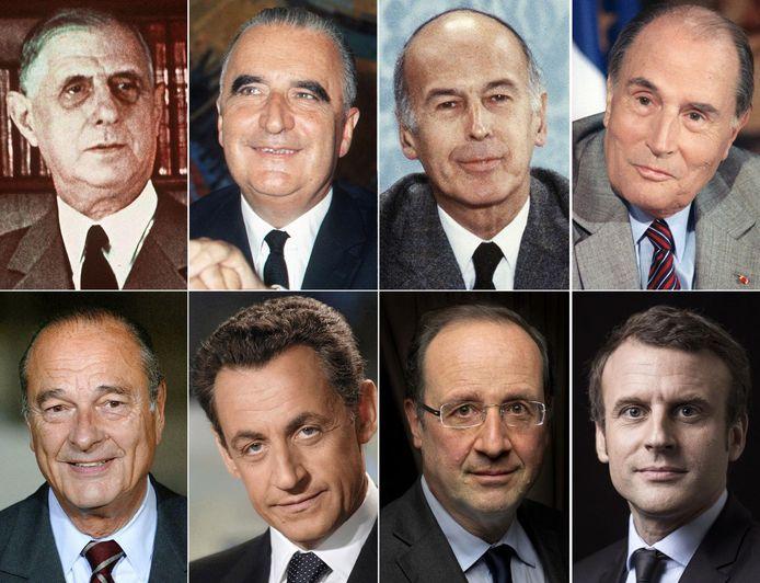 Huidig president Emmanuel Macron (tweede rij, rechts) en zijn zeven voorgangers in de chronologische volgorde qua ambtstermijn: Charles de Gaulle (1959-1969), Georges Pompidou (1969-1974), Valéry Giscard d'Estaing (1974-1981), François Mitterrand (1981-1995), Jacques Chirac (1995-2007), Nicolas Sarkozy (2007-2012) en Francois Hollande (2012-2017).