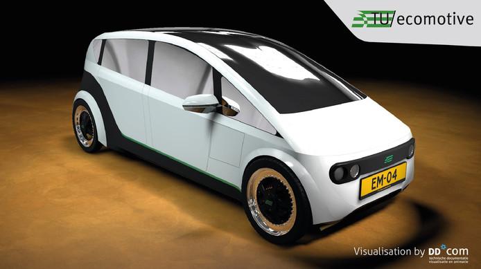 Een visualisatie van Lina, de duurzame auto.