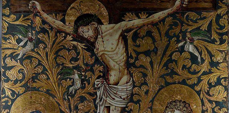 Detail van de kruisiging van Jezus, door de Meester van de Bewening van Christus te Lindau. Beeld Museum Catharijneconvent