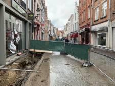 Infostand over rioleringswerken Katelijnestraat in Huis van de Bruggeling