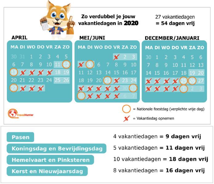 Kalender voor mensen die geen rekening hoeven te houden met de schoolvakanties