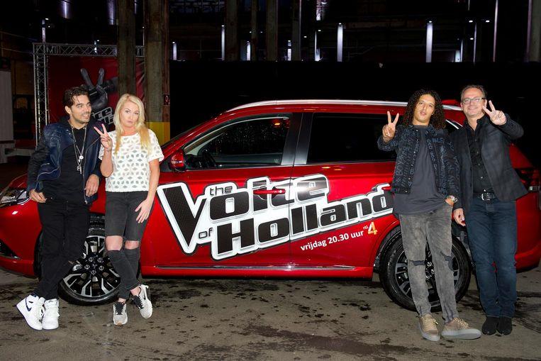 (Vlnr) Waylon, Sanne Hans (Miss Montreal), Ali B en Guus Meeuwis tijdens de persbijeenkomst van het zevende seizoen van The Voice of Holland. Beeld anp