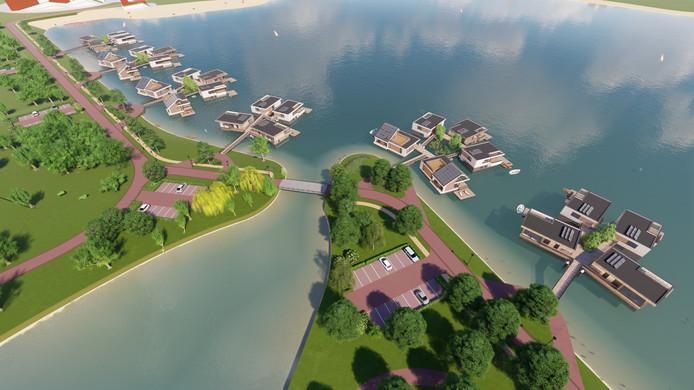 Drijvende villa's, zoals ze in de Lentse Plas zouden komen te liggen.