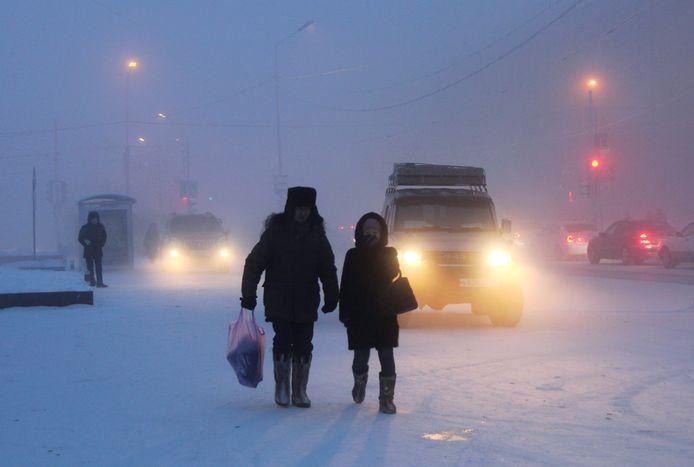 Voor de inwoners Jakoetië is een koude januarimaand normaal.