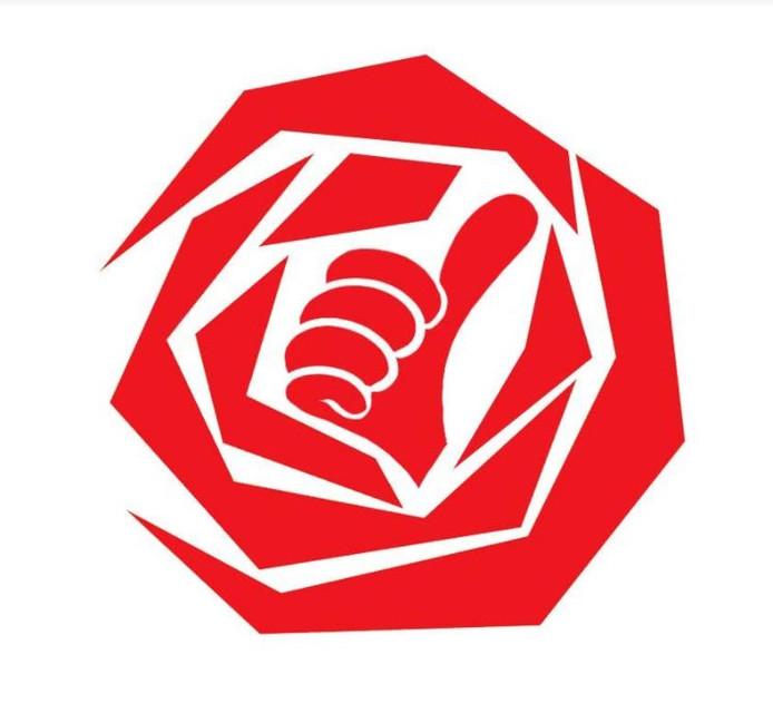 De PvdA-roos met een opgeheven duim
