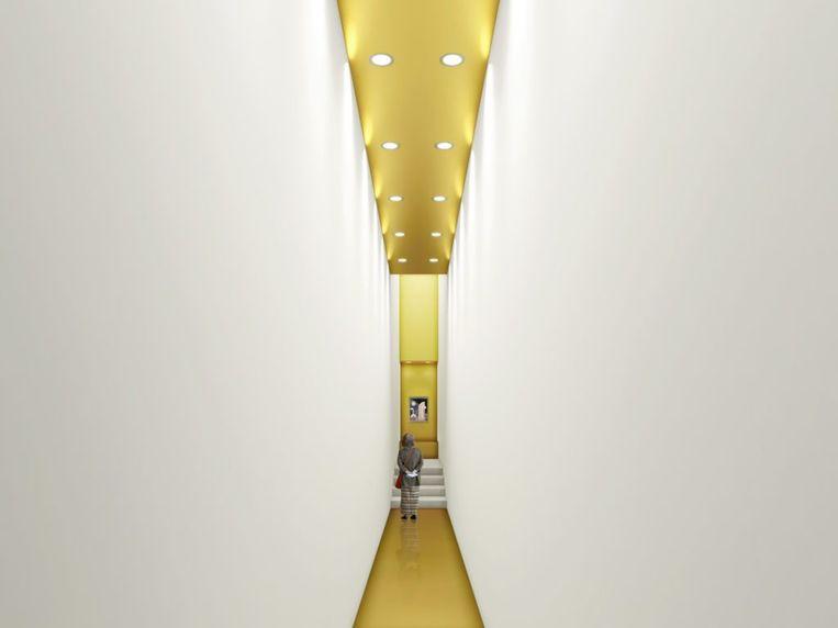 Een simulatiebeeld van de gouden zaal.