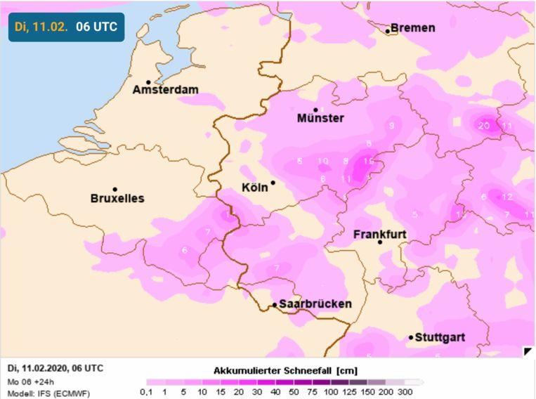Berekening sneeuwval in het zuidoosten van België