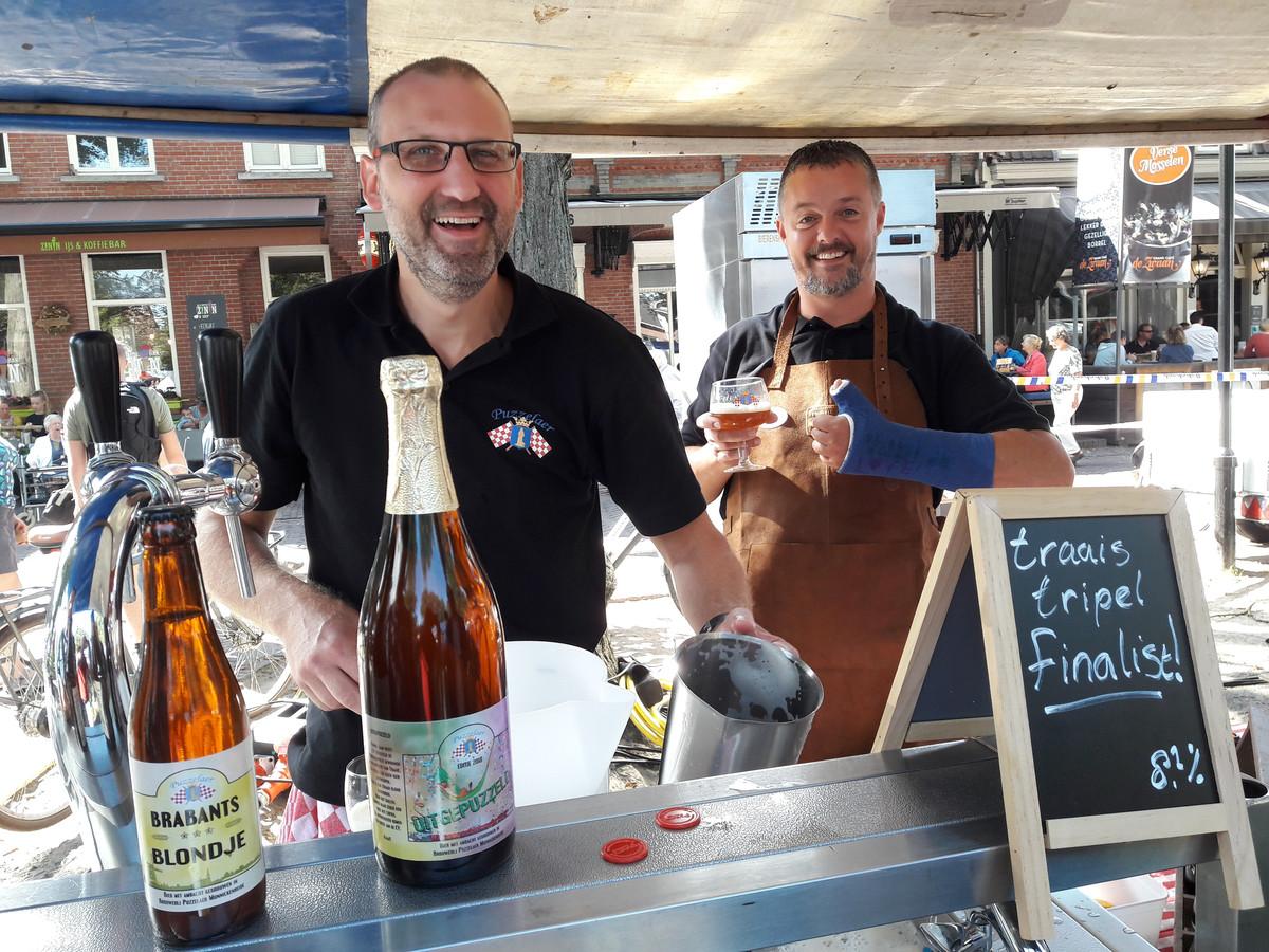 Marcel Maan (links) en René Schokker bereikten met 't Traais Tripeltje de finale van Brabants Lekkerste Bier 2018.