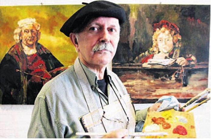 Ruud Schackman voor enkele van zijn drie meesterwerken. Foto: Jan Rikken