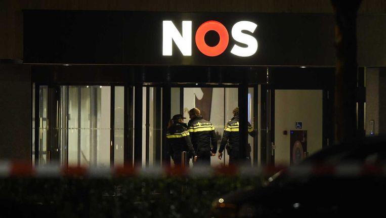 Het NOS-gebouw op de avond van de zenderverstoring Beeld anp