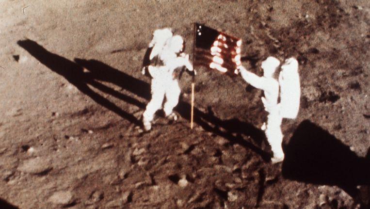 Neil Armstrong en Edwin E. Aldrin plantten de Amerikaanse vlag op de maan in 1969.