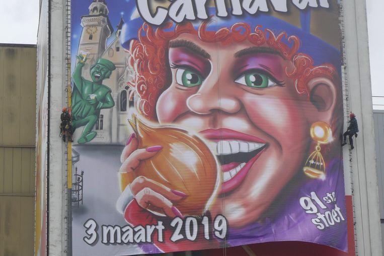 De carnavalsaffiche aan de Tereos-toren.