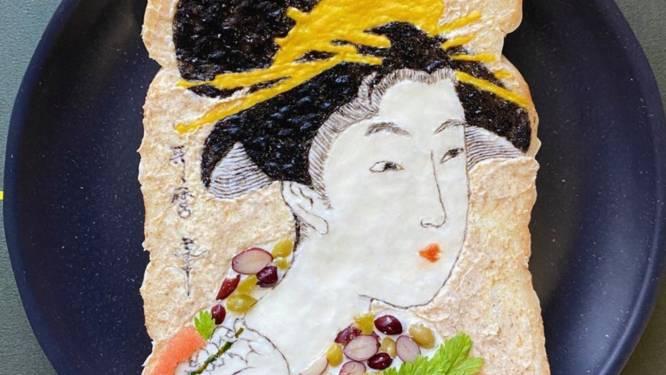 """Artieste uit Tokio maakt kunstwerken op toast: """"Ik wil de Japanse cultuur toegankelijk maken"""""""
