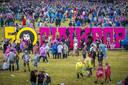Festivalterrein tijdens de laatste dag van het muziekfestival Pinkpop