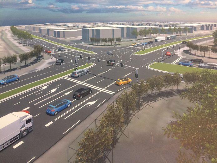 Impressie van het nieuwe kruispunt Wilhelminastraat-N264 bij Uden. Nu is dat nog een rotonde.