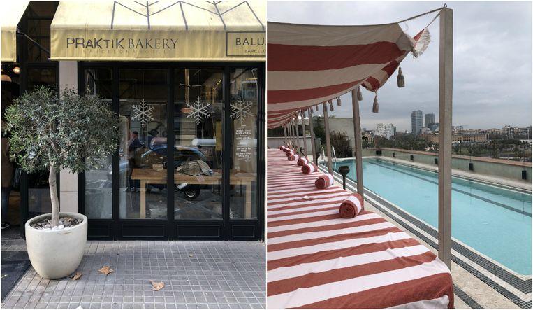 Links Hotel Praktik Bakery, rechts het zwembad op het dakterras van Soho House.