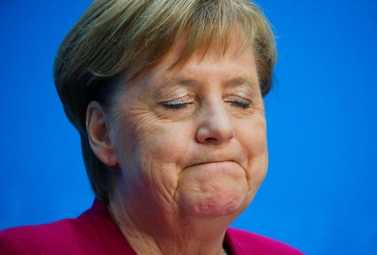 Merkel kondigde haar politieke afscheid vanmiddag aan op een persconferentie.