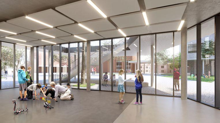 Een simulatie van hoe de nieuwe eerstegraadsschool er zal uitzien.