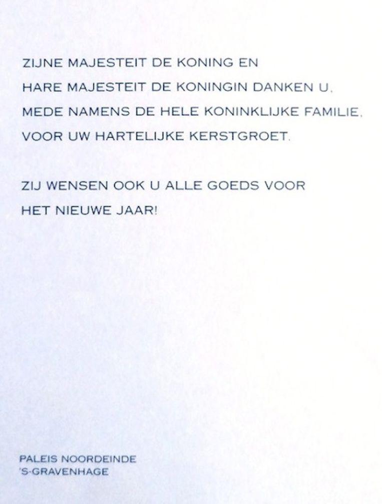 Een verzamelaar kreeg 7 januari dit nieuwjaarsbedankkaartje van koning Willem-Alexander en koningin Máxima. Beeld Willemijn Vendrig