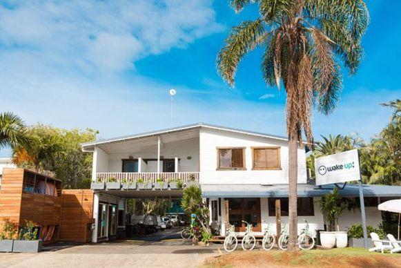 Het WakeUp! hostel in Byron Bay.