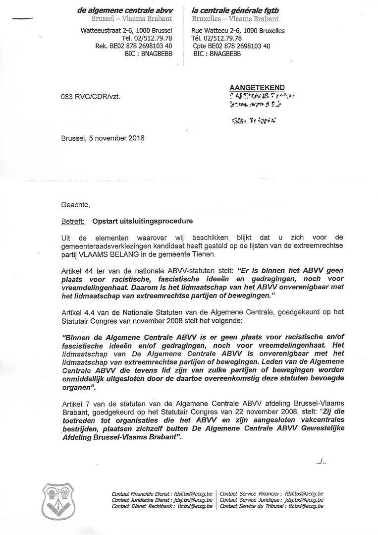 De bewuste brief van het ABVV.