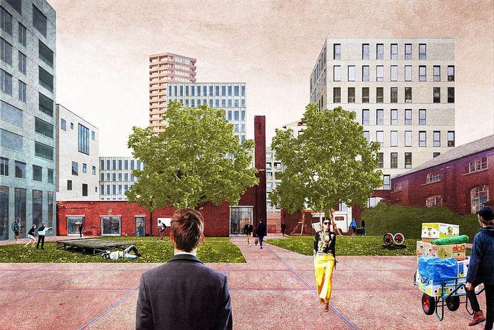 Blik over de Smederijtuin in 2028, met de rug naar de nieuwbouw van MindLabs
