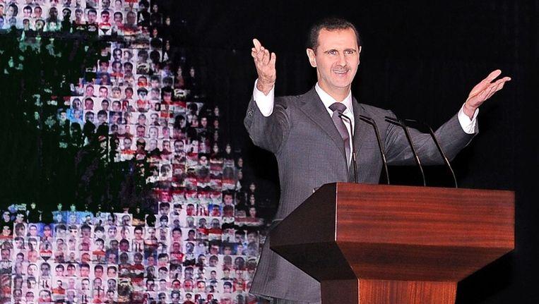 De Syrische president Assad hield zondag een televisietoespraak Beeld ANP