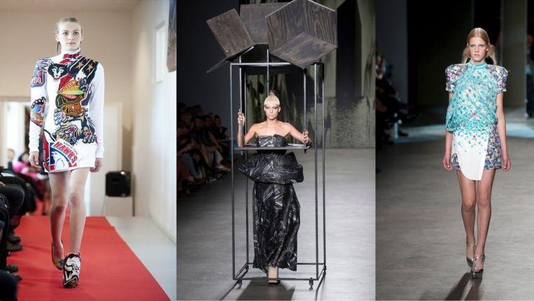 Creaties van Magnus Dekker (l), Marga Weimans (m) en Claes Iversen Beeld Geert Snoeijer