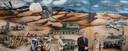"""Pronkstuk van het Artillerie Museum in 't Harde: drieluik Afghanistan. ,,In het middelpunt staat ons modernste kanon: de pantserhouwitser 2000"""", aldus Frits Dürst Britt."""