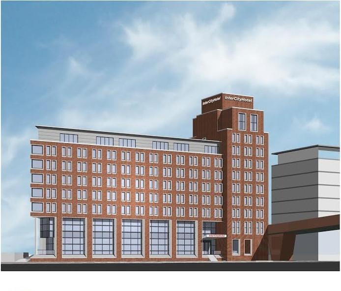 Een impressiebeeld van het toekomstige InterCity Hotel in het Bossche Paleiskwartier.