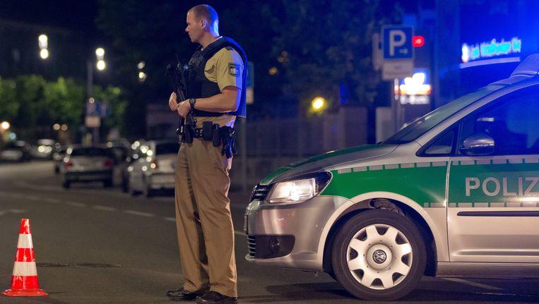 Duitse politie in Ansbach na de aanslag. Beeld epa
