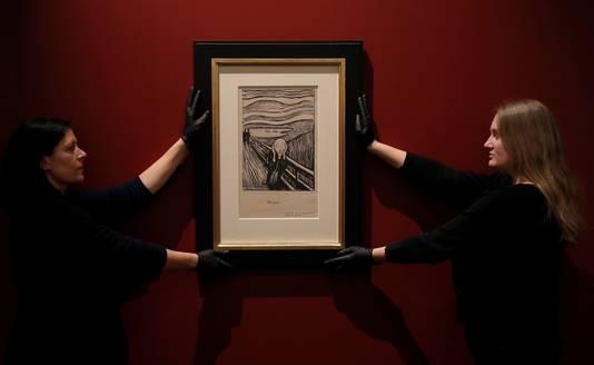 De lithografie van 'De Schreeuw' van Edvard Munch in het Brits Museum.