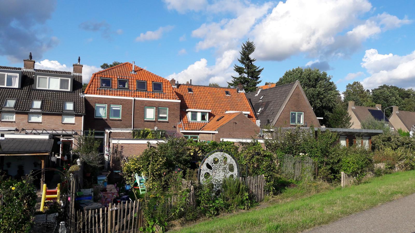 De woningen aan de Veerstraat met vervuilde tuinen.