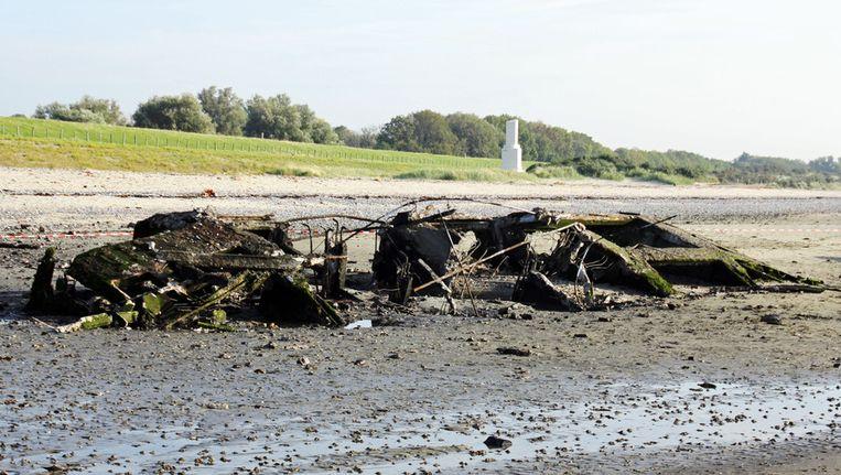Het caisson op het strand in Ritthem (Zeeland) dat op 23 september vorig jaar is opgeblazen. © anp Beeld