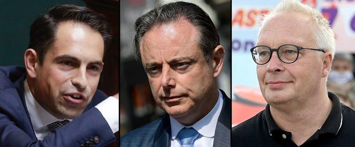 Tom Van Grieken (Vlaams Belang), Bart De Wever (N-VA) en Peter Mertens (PVDA).