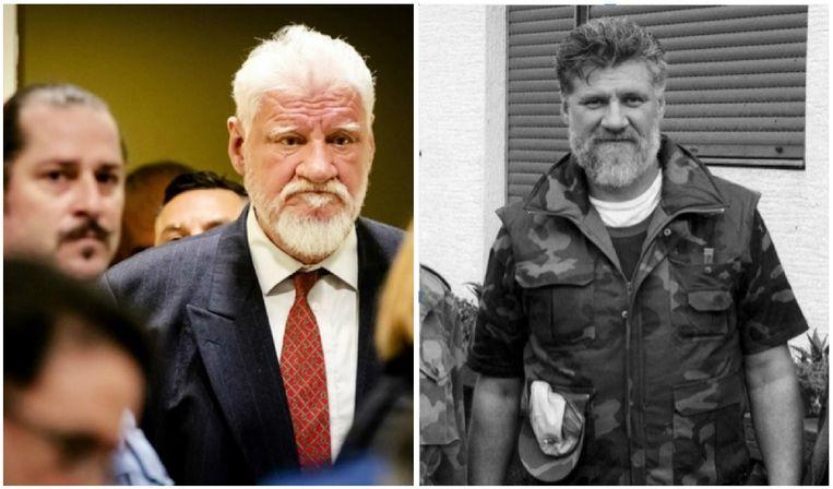 Slobodan Praljak wordt de rechtszaal van het Joegoslaviëtribunaal binngeleid.  Enige tijd later nam hij het vergif in. Rechts: Praljak als generaal ten tijde van de Kroatische Onafhankelijkheidsoorlog in september 1991.