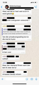 Een andere app die Soufyan maandag kreeg. 'Even overgooien', dat willen zijn belagers met hem doen. Ook wordt hier gesproken over de Mercedes ('merrie') en de schadevergoeding.